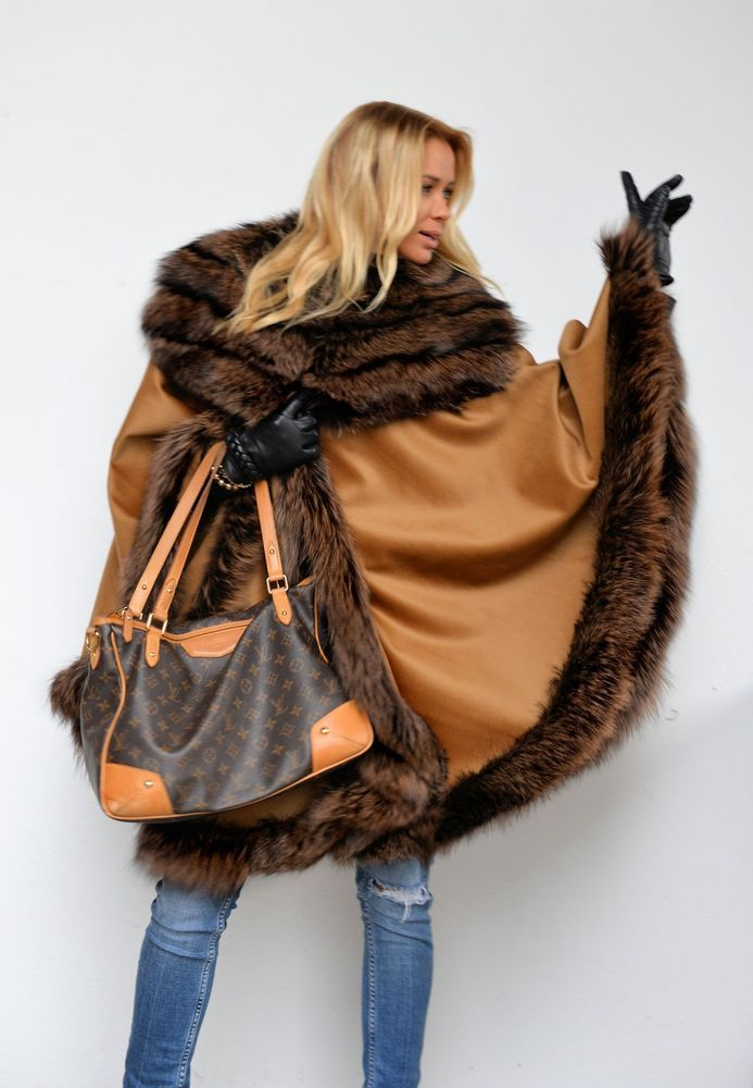 NEW CASHMERE SAGA SILVER FOX FUR PONCHO CLASS- SABLE MINK CHINCHILLA COAT JACKET #LAFURIA #Ponchos