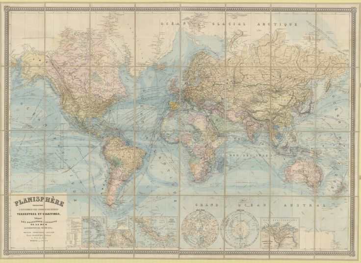 1904 Map Of The World Showing Land And Maritime Communications Including Telegraph Cables And Telegraph Lines