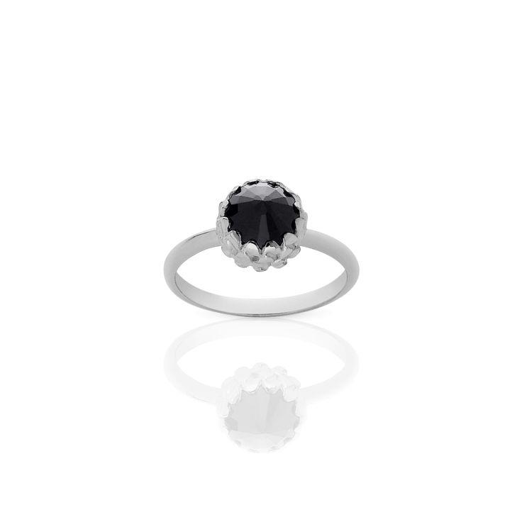 Mini Protea Ring Sterling Silver onyx