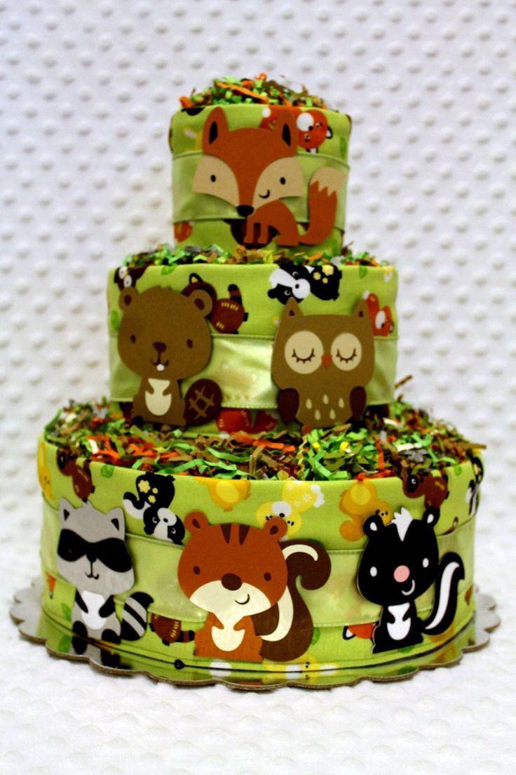 Baby Diaper Cakes Woodland Animals with Raccoon Rattle