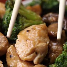 [Chicken, Mushroom, And Broccoli Stir Fry]. Looks so good. Update: Good. Needs more garlic + ginger. And check the salt. I think this would be a nice recipe to add sweet pepper to as well. Luncheon.
