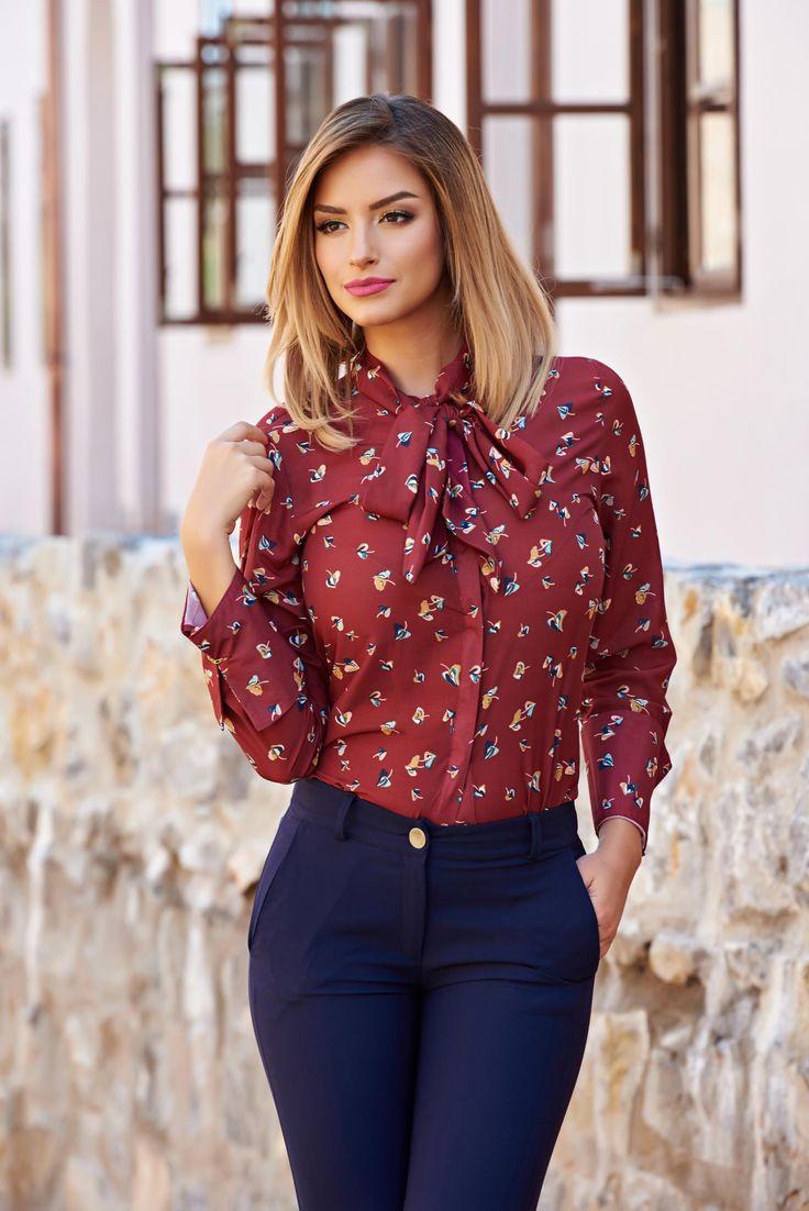 Camasa PrettyGirl Autumn Colors Burgundy. Camasa cu imprimeu perfecta pentru toamna. Fii eleganta, alege sa combini camasile cu imprimeu cu piese basic, in culori simple.