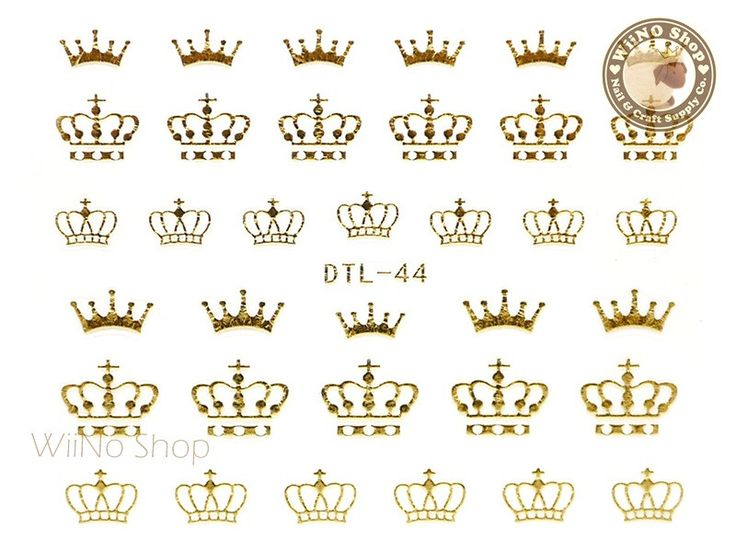 Gold Crown Nail Art Sticker - 1 pc (DTL-44G)