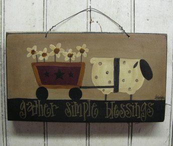 Sheep with Flower Cart Primitive Painted by GainersCreekCrafts, $12.99