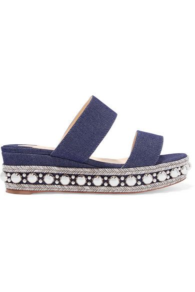 cheap for discount 5ebc0 acb9c Janitag 60 studded denim wedge slides in 2019 | Christian ...
