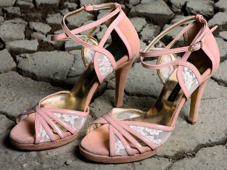 Suede Sandal Pumps with Patent leather and lace details in nude. Available in many colors and materials and combinations after demand.
