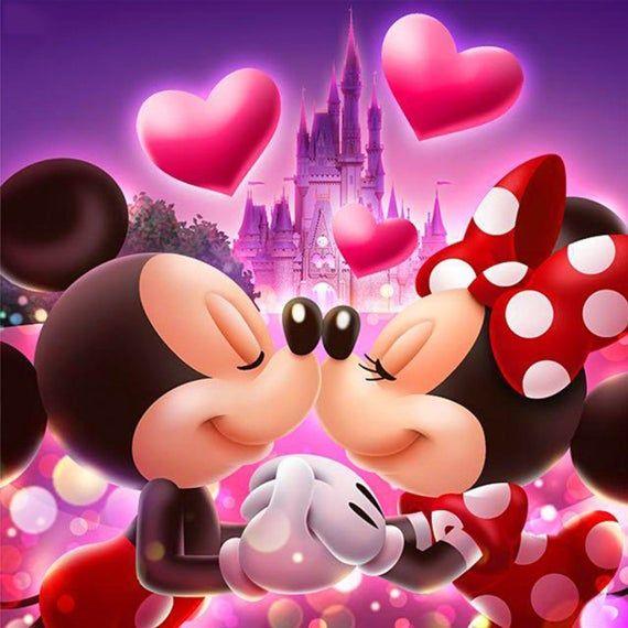 5d Diamond Painting Mickey And Minnie Love Disney Diamond Painting Cartoon Mosaic Diamonds Kits Full Square Round Drill Room Decoration Mickey Mouse Wallpaper Mickey And Minnie Love Mickey Minnie Mouse