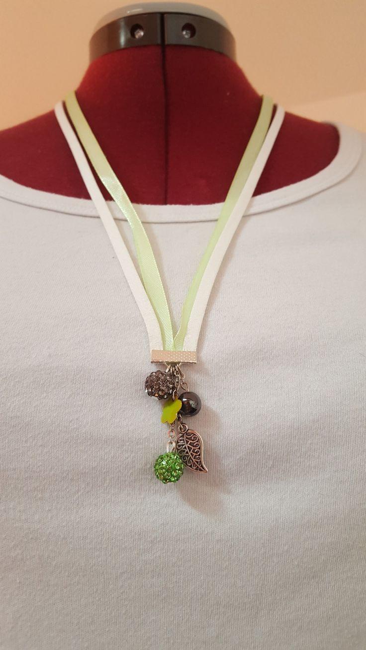 """Sautoir """" Nature """" Vert, Blanc, acier : Collier par dbk-creation"""