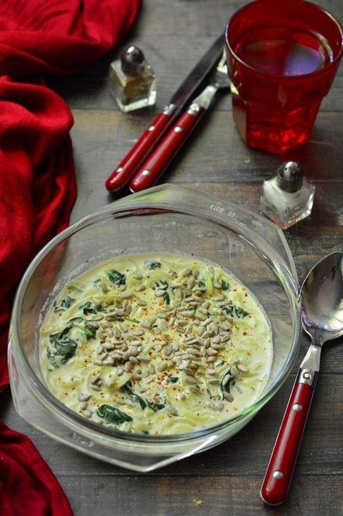 Spenótos-tejszínes cukkinitészta recept