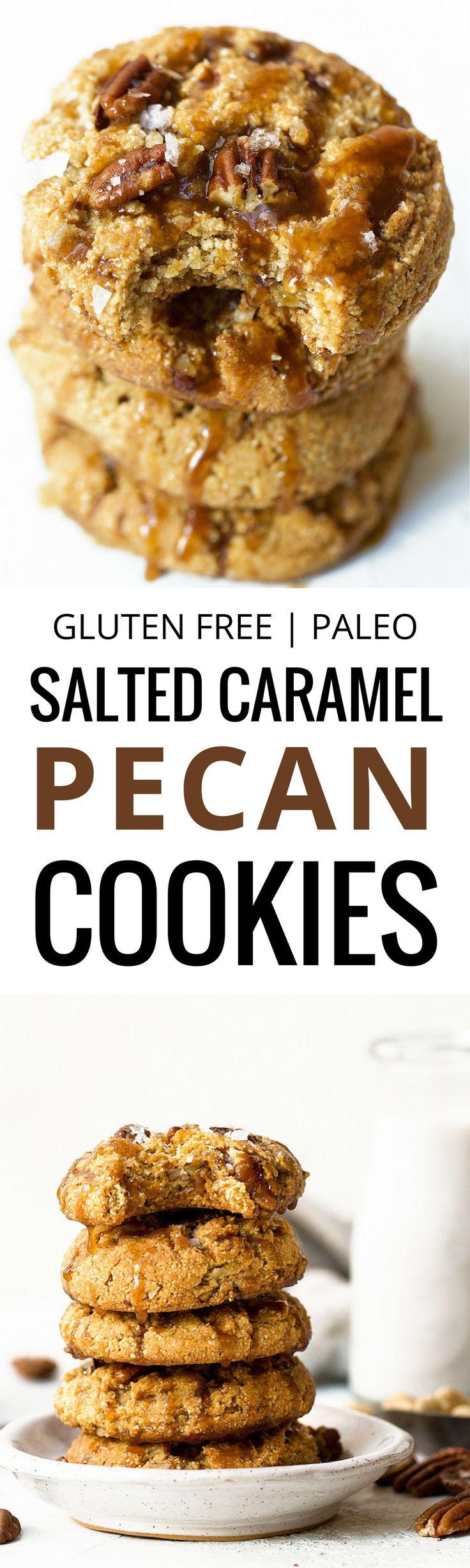 Salted caramel pecan cookies made with raw cashews #cookies #pecans #saltedcaramel #dessert