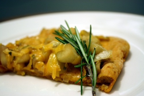 ... Potato Flatbread with Carmelized Onions, Apples, Cheddar and Rosemary