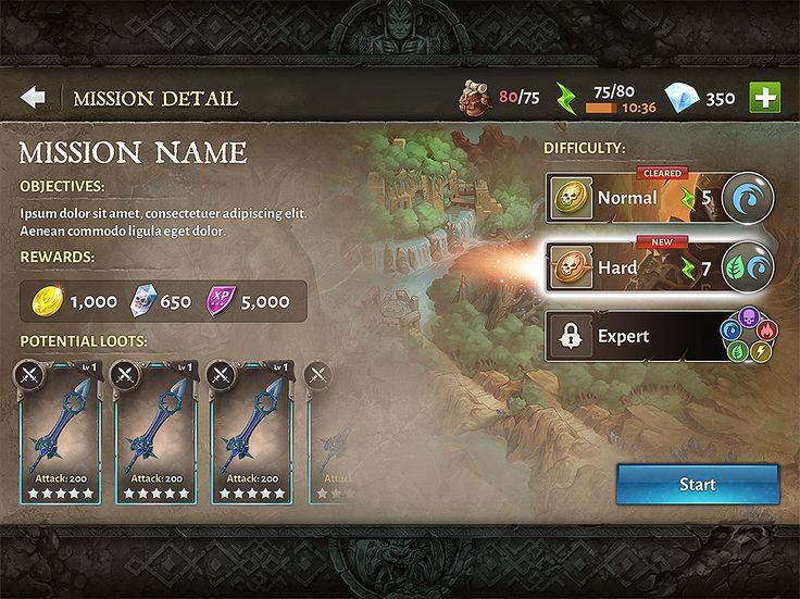 Dungeon hunter 5 Mission Detail menu by Panperkin.deviantart.com on @DeviantArt