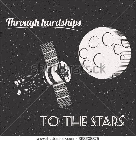 Through hardships to the stars t-shirt print moon and satellite in space illustration