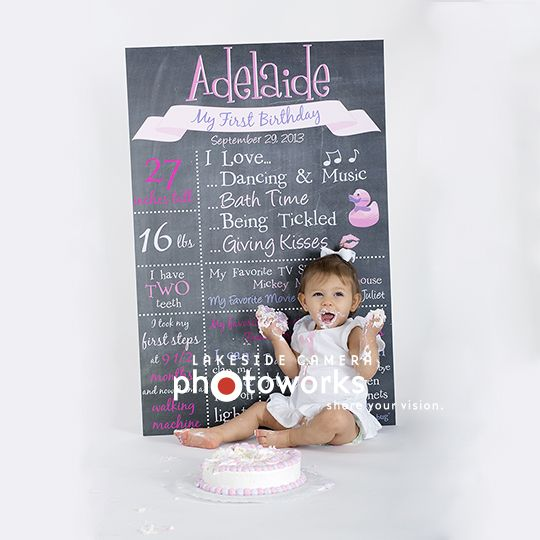 First Birthday Chalkboard.  Great idea for your first Birthday Photoshoot and to display at the party.  This photo was taken at Lakeside Camera and the board was designed by one of our Graphic Designers.