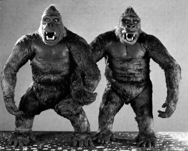 The Original King Kong in 1933 was animated by Stop Motion Pioneer WILLIS H. O'BRIEN and he had 3 stop motion models to work with, here's a picture of two of them. 16 inches tall, a ball and socket steel skeleton armature was covered with latex foam rubber. Then rabbit fur was glued on top of that. The limbs, mouth, fingers and head all could move and were shot one frame at a time.