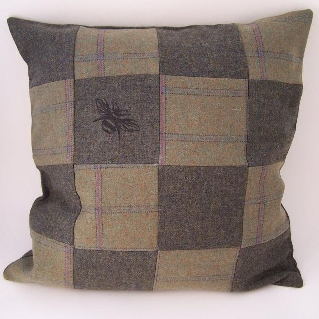 Printed Tweed Patchwork Cushion