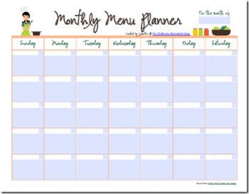 Free Editable Monthly Menu Planner                                                                                                                                                                                 More