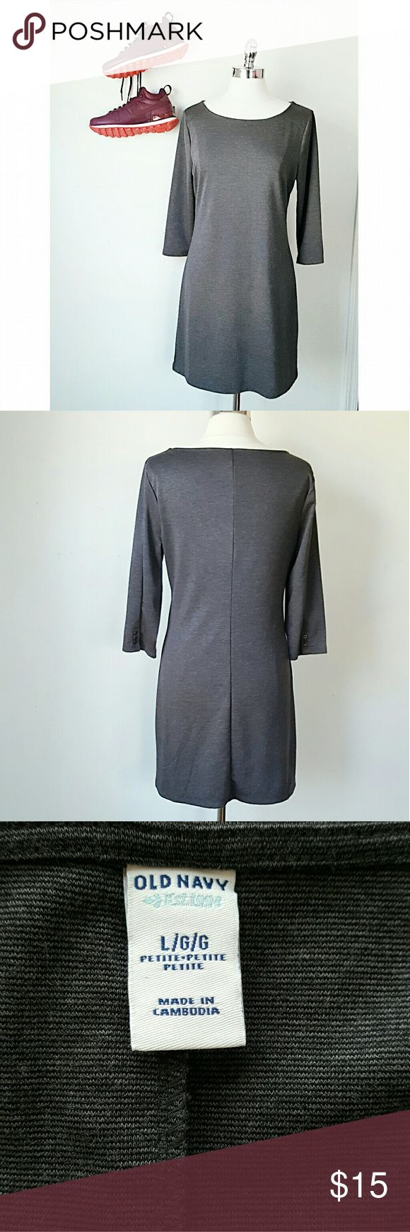 Old Navy Charcoal Ponte Dress- SIZE PETITE LARGE - Old Navy - Charcoal Grey - Polyester,  Rayon, Spandex - PETITE Size Large, 41in Chest, 18in Sleeve, 34in L - Boat neck, 3 button detail on sleeve, Work to play! Old Navy Dresses