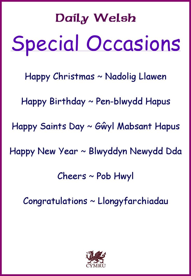 Daily Welsh: special occasions