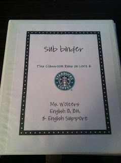 Procedure   A substitute binder that includes: a welcome note, important phone numbers, classroom policies, lesson plans, emergency plan, and misc. This is great for unplanned and planned absences.