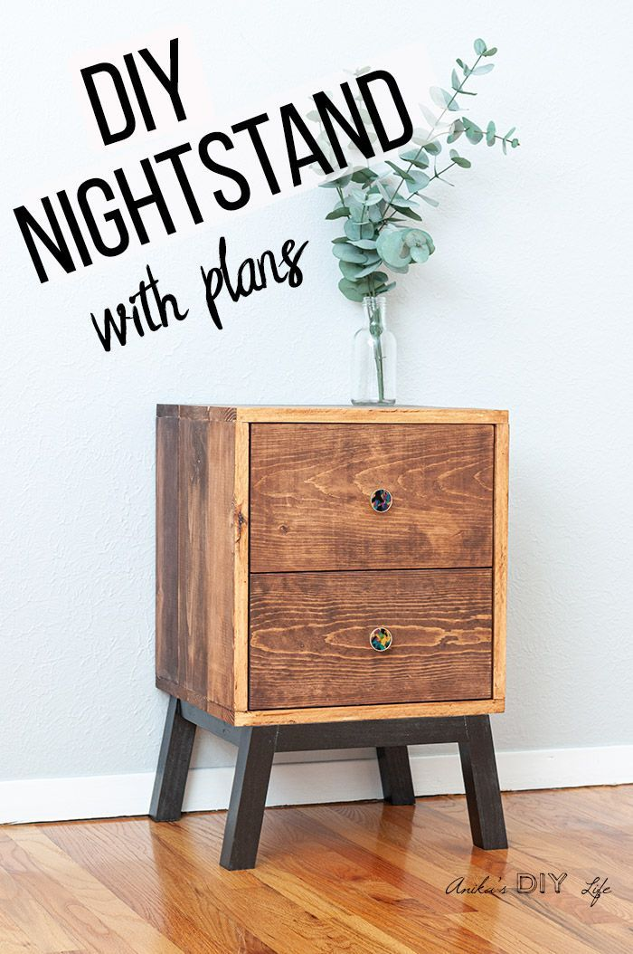 How To Make An Easy Diy Nightstand With Drawers Plans And Video In 2020 Diy Nightstand Simple Nightstand Bedside Table Diy