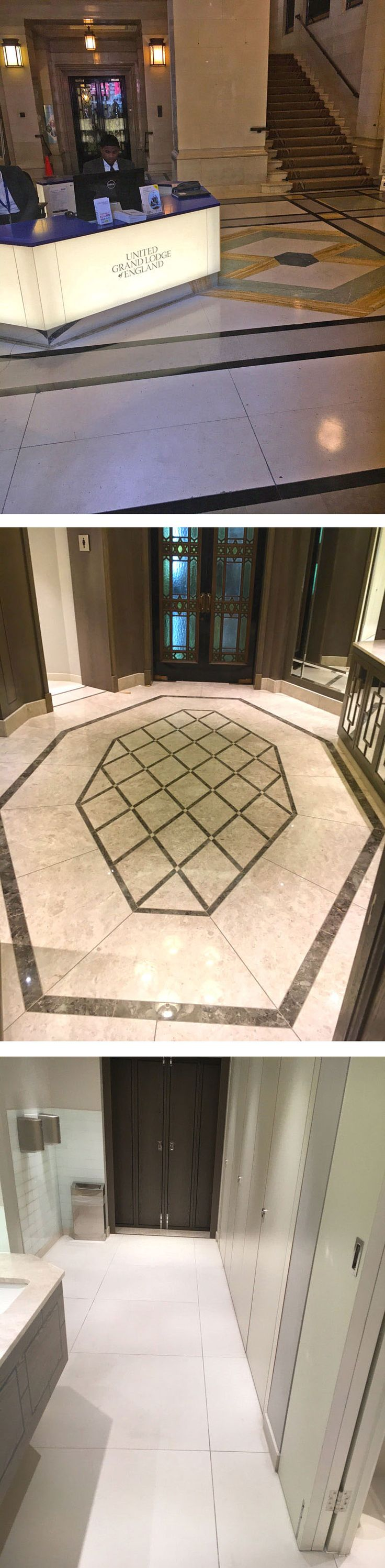 Mapei adhesive and grout products have been specified for the installation of a stone pattern in the reception and washroom areas in a refurbishment to the Freemasons' Hall, London. The Hall first opened in 1933 as a memorial to the 3,255 Freemasons who died during active service in the First World War. www.mapei.co.uk https://issuu.com/link2media/docs/bi_oct_16_iss4_issuu/36