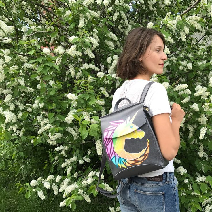 Hand painted leather backpack with a sunny unicorn  will help you to make amazing spring time  , don't miss it!