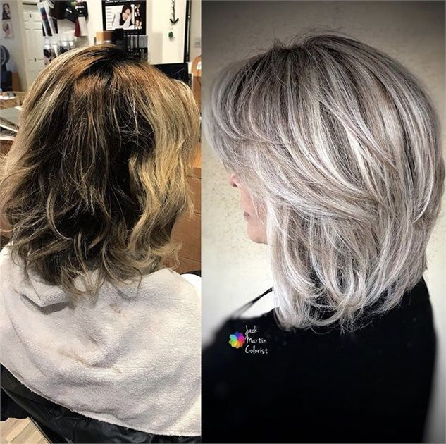 10 Times Jack Martin Helped His Clients Go Gray Silver Hair Color Blending Gray Hair Grey Hair Transformation