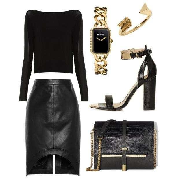 Модное сочетание с черной кожаной юбкой, которая должна быть у каждой девушки. Тренд 2015 года
