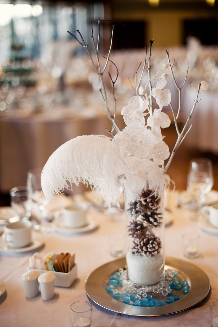 Get Rid Of Feathers And The Charger Plate Just Branches Flowers Pine Cones And Snow In The