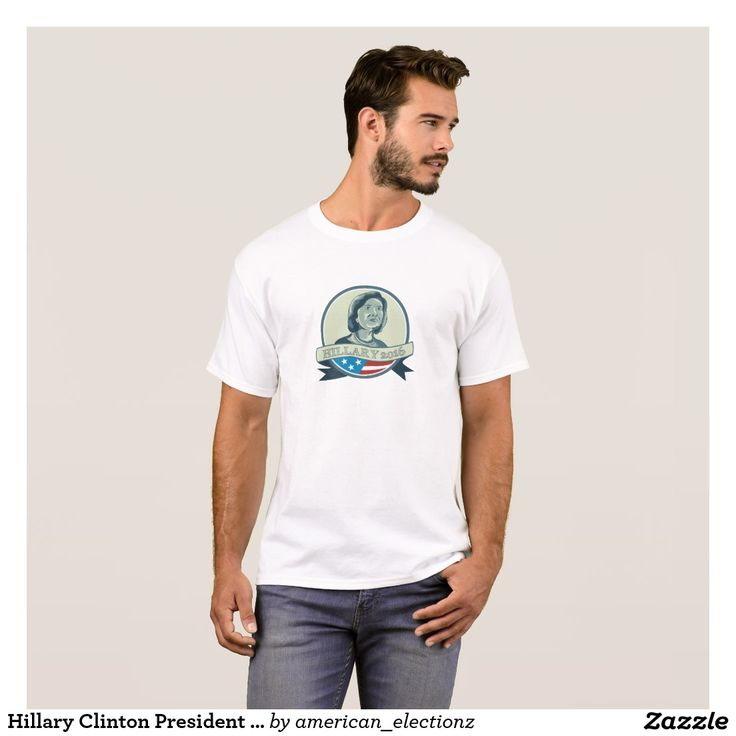 """Hillary Clinton President 2016 Circle T-Shirt. 2016 American elections men's t-shirt with an illustration showing Democrat presidential candidate Hillary Clinton set inside circle with USA American stars and stripes with the words """"Hillary 2016"""" on isolated background. #Hillary2016 #democrat #americanelections #elections #vote2016 #election2016"""