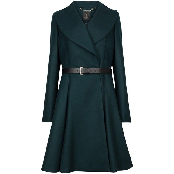 Ted Baker Laureol Flared Wool Blend Coat, Dark Green (£329) ❤ liked on Polyvore featuring outerwear, coats, jackets, coats & jackets, dark green coat, blue coat, ted baker coat, long sleeve coat and flare coat