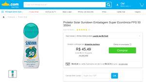 [Submarino] Protetor Solar Sundown Embalagem Super Econômica FPS 50 350ml - de R$ 47,20 por R$ 40,94 (13% de desconto)