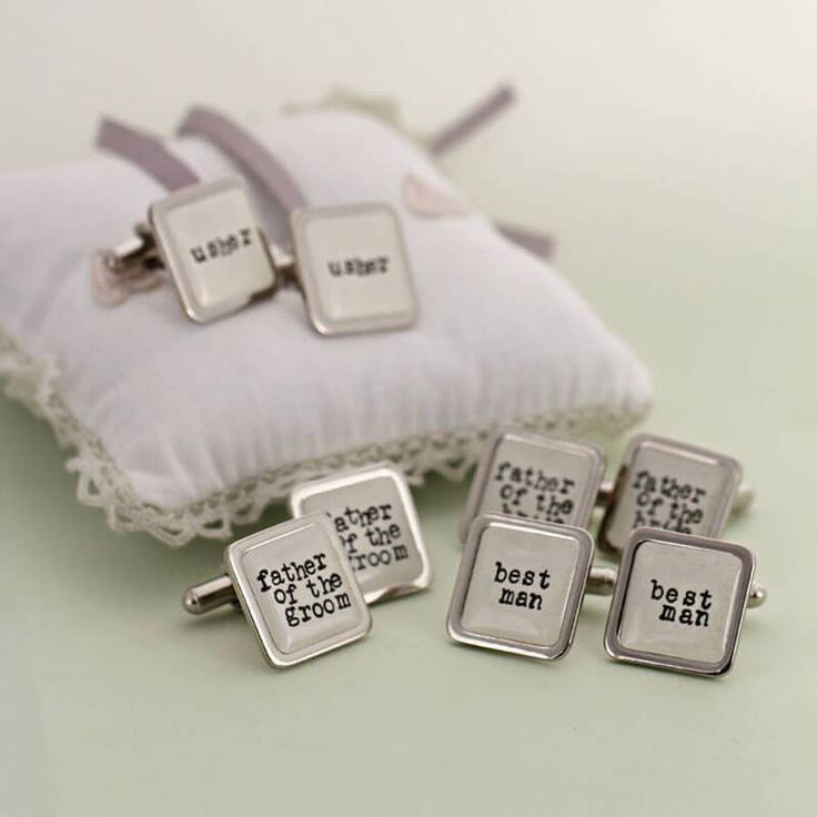 White Wedding Party Cufflinks These are fun and personalised handmade cufflinks that look great on any wrist. The perfect gift for a wedding party. You can have Usher, Groom, Best Man, Father of the Bride and Father of the Groom.  http://www.MightGet.com/january-2017-13/unbranded-white-wedding-party-cufflinks.asp
