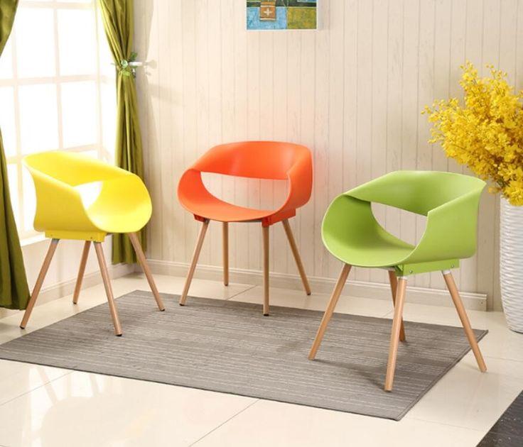 2 Unidades de Juego de Plástico Silla Muebles Creativo Simple Moda Ocio Negociar Sillas de Comedor De Madera De Colores Contemporáneos