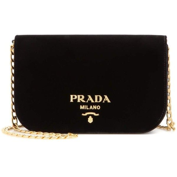 Prada Velvet Shoulder Bag (£1,080) ❤ liked on Polyvore featuring bags, handbags, shoulder bags, bolsas, black, prada shoulder bag, man bag, handbag purse, shoulder hand bags and velvet handbag