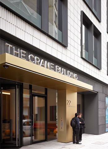 The crane building front entrance