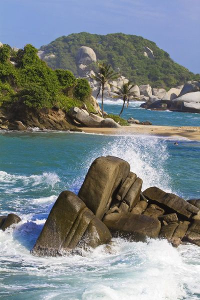 Colombia, Magdalena, National Park Tayrona. Beautiful El Cabo Beach can only be reached by a hike through the jungle - but it is worth it! #beach #Nationalpark #colombia #caribbean #coast #travelandmakeadifference