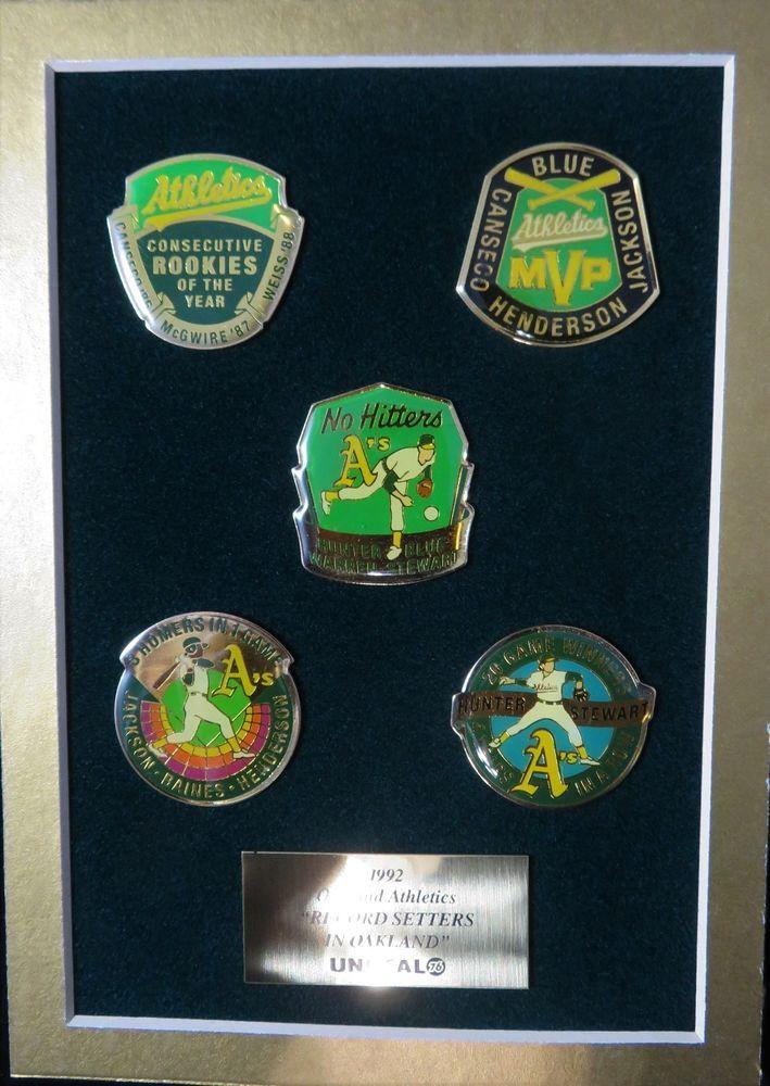 Unocal Oakland Athletics 1992 Baseball 5 Pins Record Setters In Oakland Mounted #Athletics #OaklandAthletics