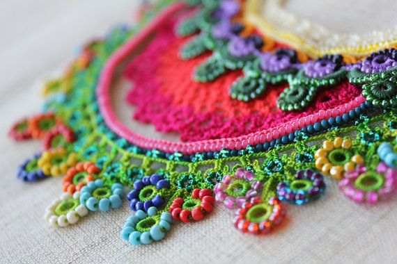 Convolvulus Erubescens ... Crochet Beaded Necklace - Cream Pink Green Blue Purple - Flowers - Beadwork Statement Necklace