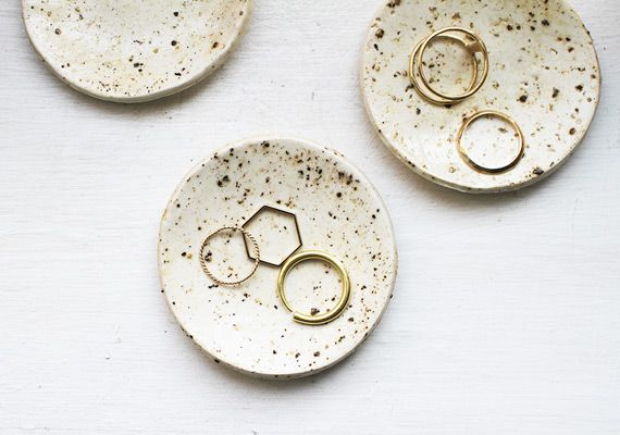 Polymer clay ring dishes are handy little keepers for all of your bits and baubles. And, with the help of a kitchen staple, they can look like real pottery!