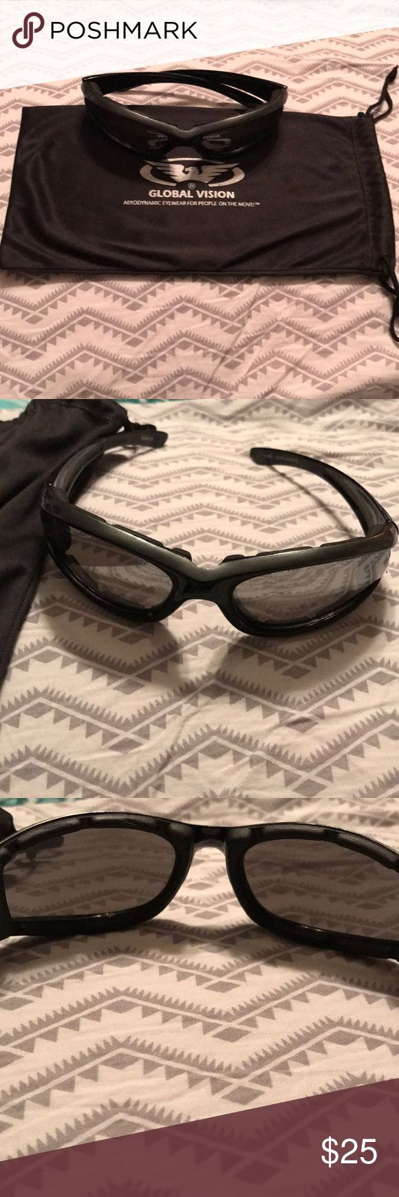 Global Vision Sunglasses 😎 Men's sunglasses 🕶. Really nice and has padding around inside so they are comfortable when put on around 👀 as seen in photo. New Global Vision Accessories Glasses
