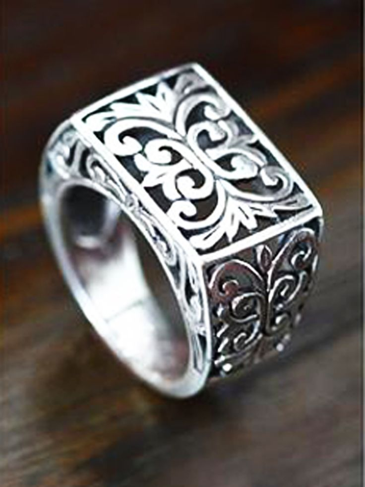 Inspired by traditional Indonesian art, Sukartini presents a dramatic men's #ring.
