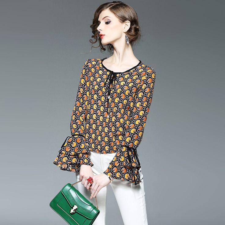 100% Silk T Shirt 2017 Spring Women's Fashion Flare Long Sleeves Round Neck Elastic Waist Printed Women's T-shirt Tops Female