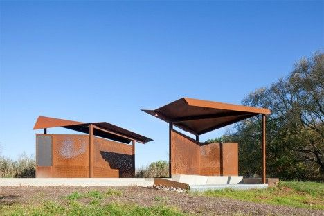 Viewpoint architecture: East Point Park bird sanctuary weathering steel pavilions by Plant Architect in Toronto, Ontario Canada