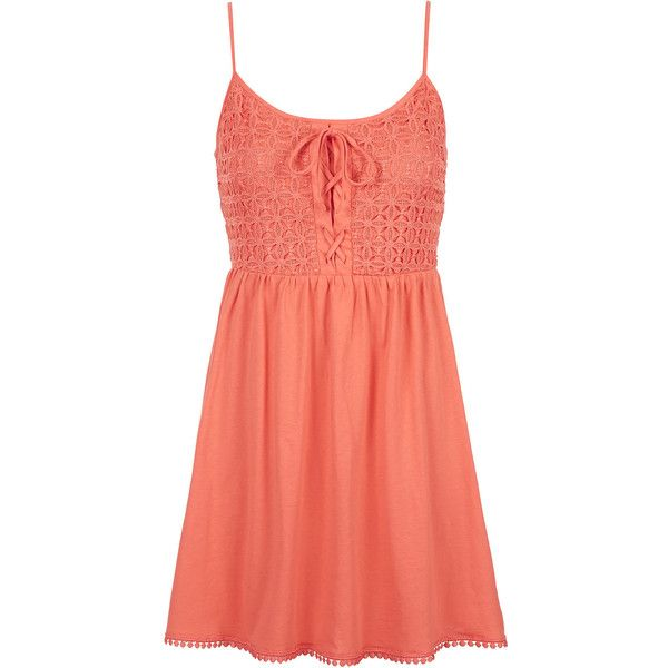 TOPSHOP PETITE Crochet Lace Sundress found on Polyvore featuring dresses, vestidos, robe, short dresses, coral, petite, red dress, topshop, sundress dresses and petite dresses