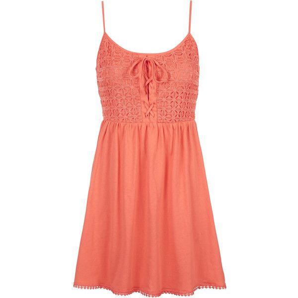 TOPSHOP PETITE Crochet Lace Sundress found on Polyvore featuring dresses, vestidos, robe, short dresses, coral, petite, red dress, topshop, sundress dresses and petite dresses