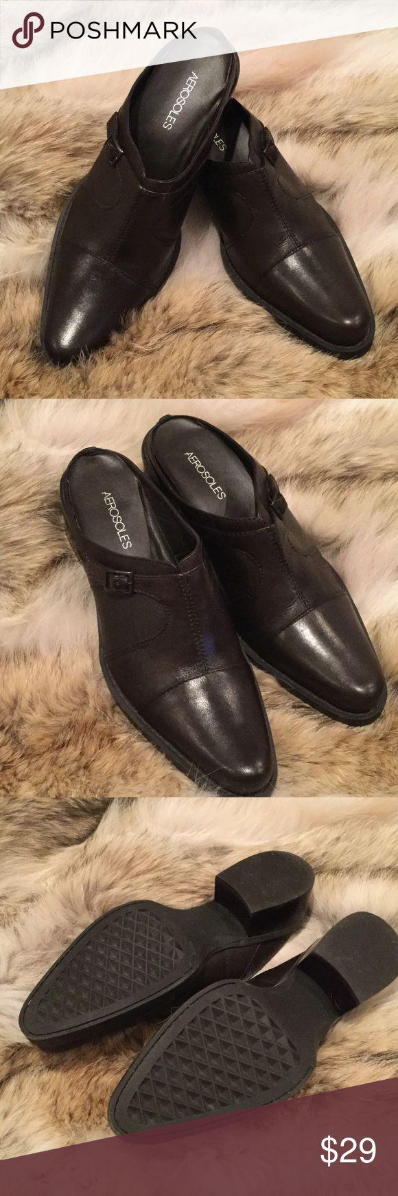 "Ladies mule clog brown leather Aerosols 9.5 Ladies brown leather mule clog 1 "" heel with the signature aerosols rubber comfort sole . Worn once size 9.5 AEROSOLES Shoes Mules & Clogs"