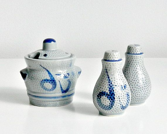 Vintage Asian Condiment Set. Salt and Pepper Set. by retrogroovie