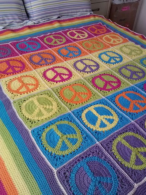 "My ""Peace, Love & Granny Afghan""...it was a lot of work but I'm really happy with how it turned out!"